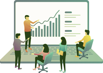 Gráfico de equipe mostrando análise gráfica de dados de empresa - consultoria gestão estratégica